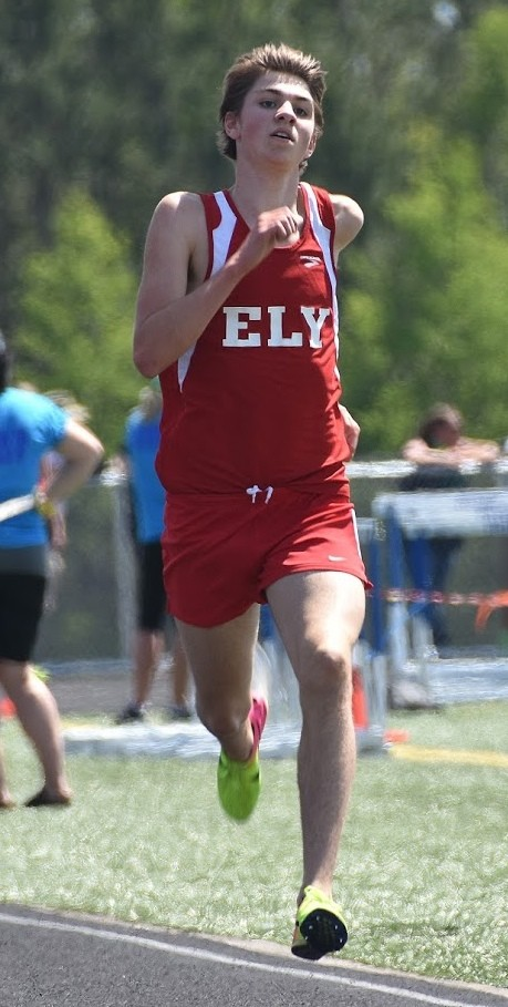 Ely freshman James Schwinghamer nears the finish in his runner-up 3,200-meter run performance in Thursday's Section 7A meet in Duluth, earning a trip to state.