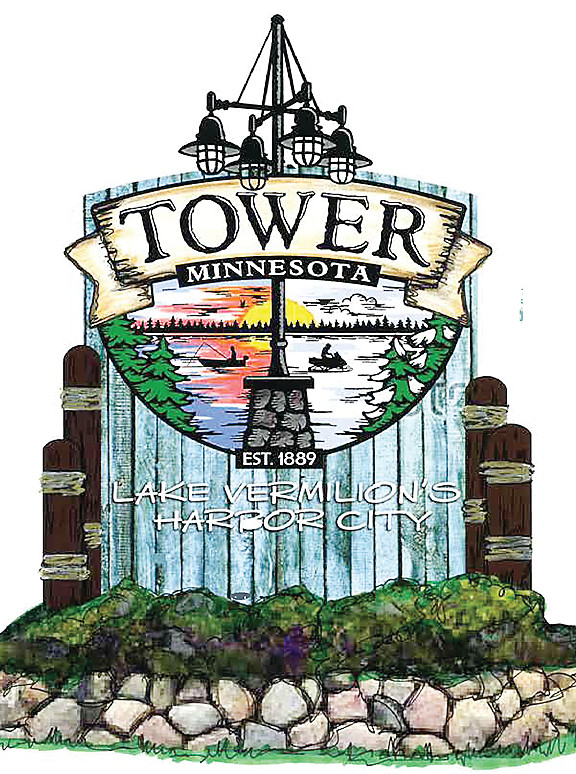 A mock-up of the new welcome sign to be located at Tower's west entrance.