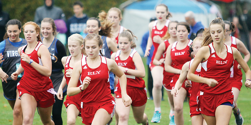Ely girls runners starting Tuesday's race at Hidden Valley.