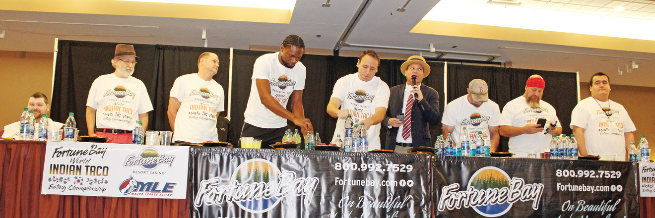 World champion eater Joey Chestnut was joined on stage at Fortune Bay Casino Resort Saturday night for an Indian Taco eating contest.