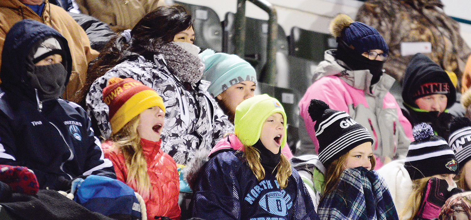 Fans were bundled up against the chill. At kickoff, temperatures were in the mid-teens, with a stiff wind blowing off of nearby Lake Bemidji.