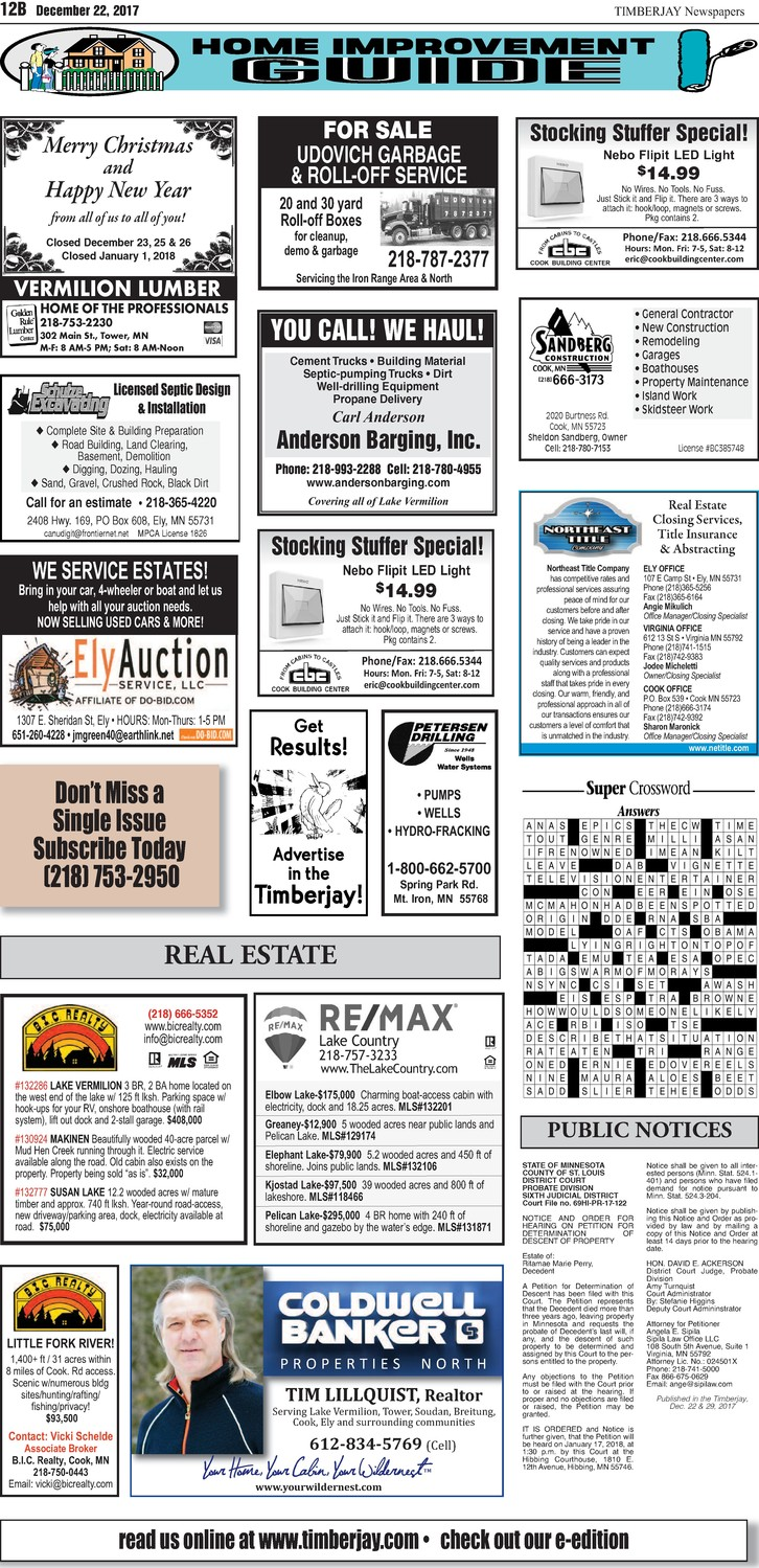 Click here to see the legal notices and classifieds from page 12B