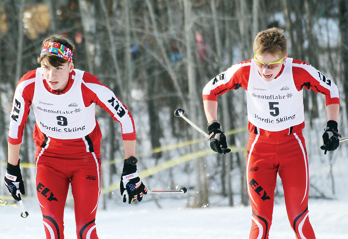 James Schwinghamer and Jasper Johnston compete during last Friday's pursuit race in Duluth.