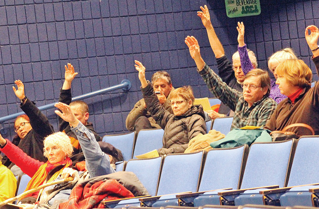 City of Ely DFL Party members vote on mining-related resolutions Tuesday night at Vermilion Community College.