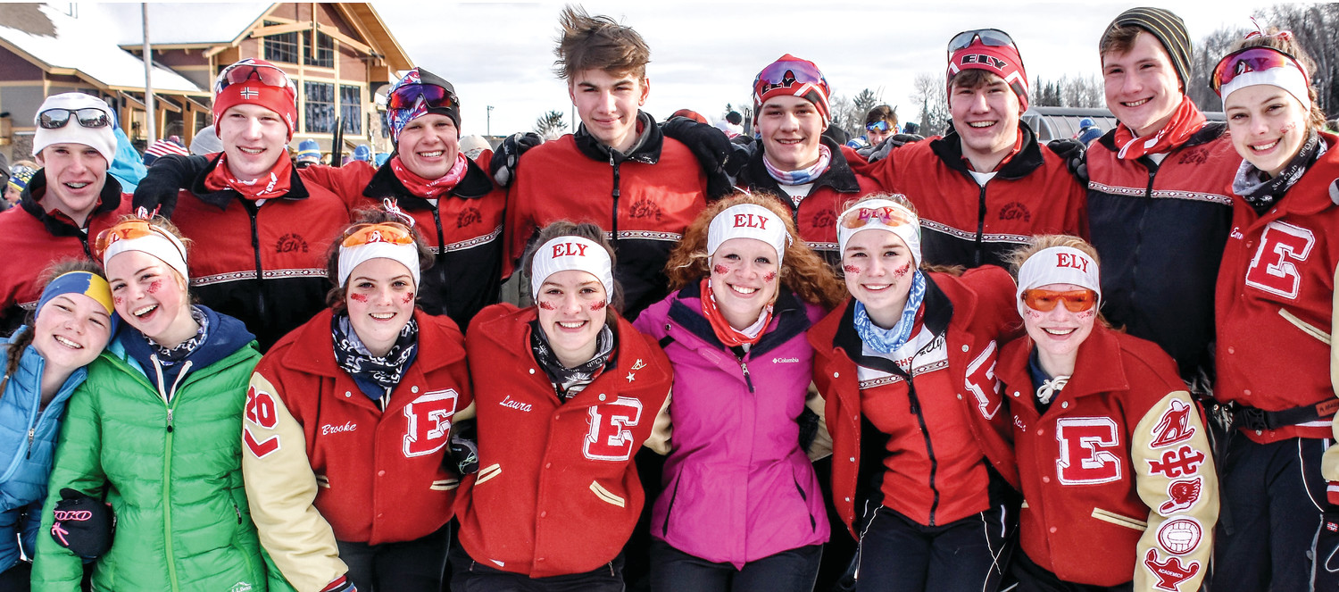 Members of the Ely boys and girls ski teams celebrated their state tournament performance.