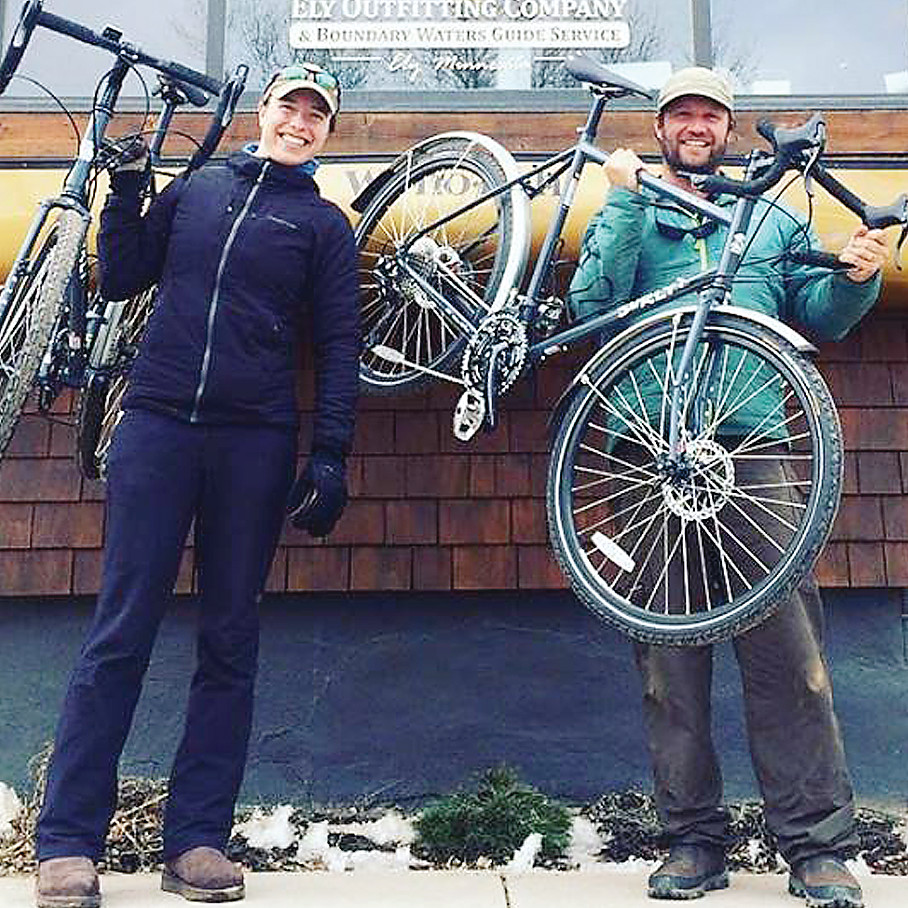 Amy and Dave Freeman posed with bikes after announcing their plans to pedal to Washington, D.C. beginning in April, to advocate for protection of the Boundary Waters.