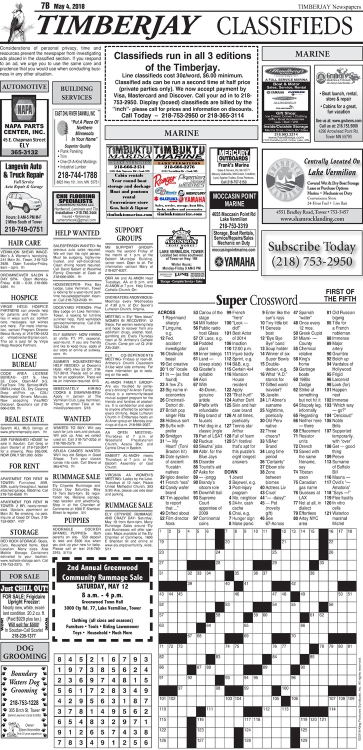 Click here for the legal notices and classifieds from page 7B