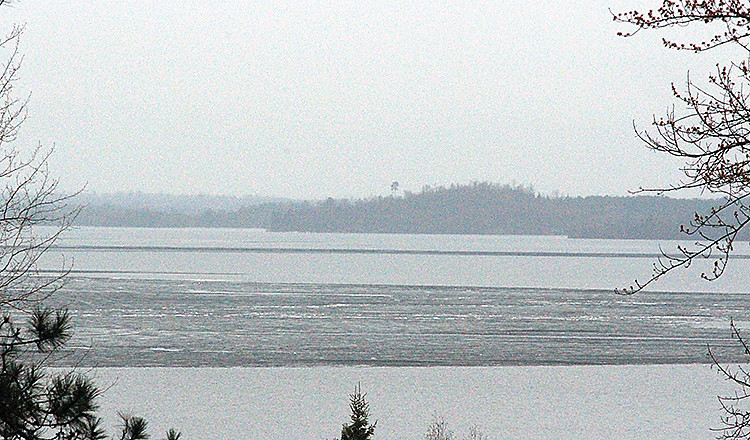 The last remaining ice could be seen floating on Lake Vermilion's Big Bay on Tuesday. By Wednesday, the lake was ice-free.