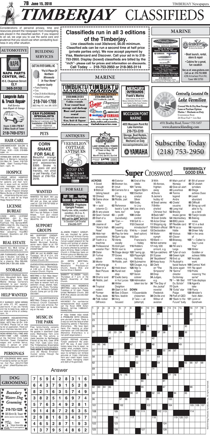 Click here for the legal notices and classifieds on page 7B