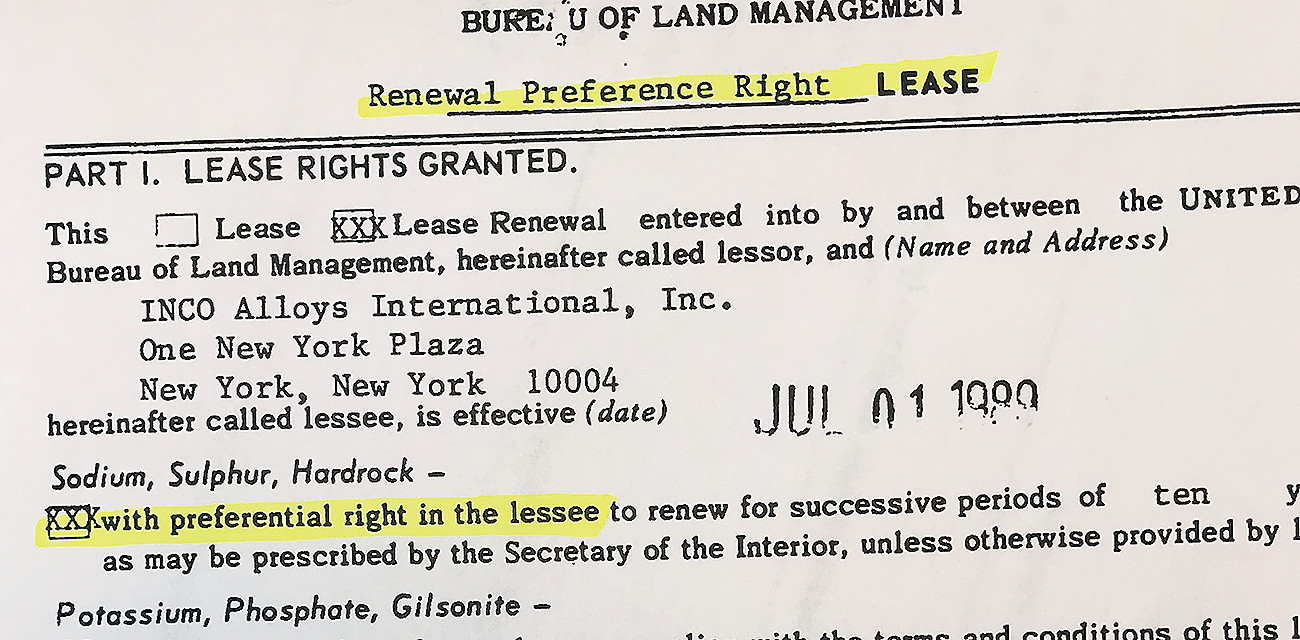 This actual image of an excerpt from the 1989 lease renewal indicates that INCO was provided preferential rights only. Such rights provide the leaseholder a preference over other parties for future renewal but they do not obligate the government to renew. This and similar documents are likely to pose a challenge to the Trump administration as it tries to defend the legality of its recent decision to reinstate mineral leases for Twin Metals.