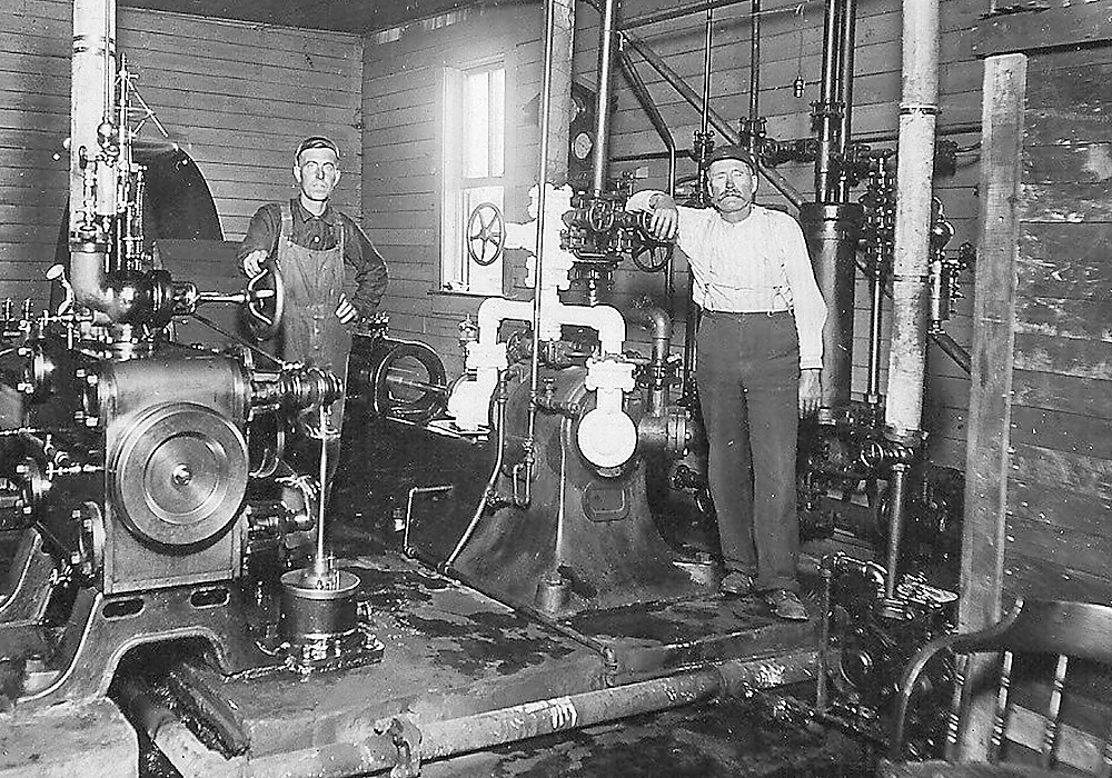 George Hunter (on right) and a fellow worker at the former Iron Range Brewing Company in Tower.
