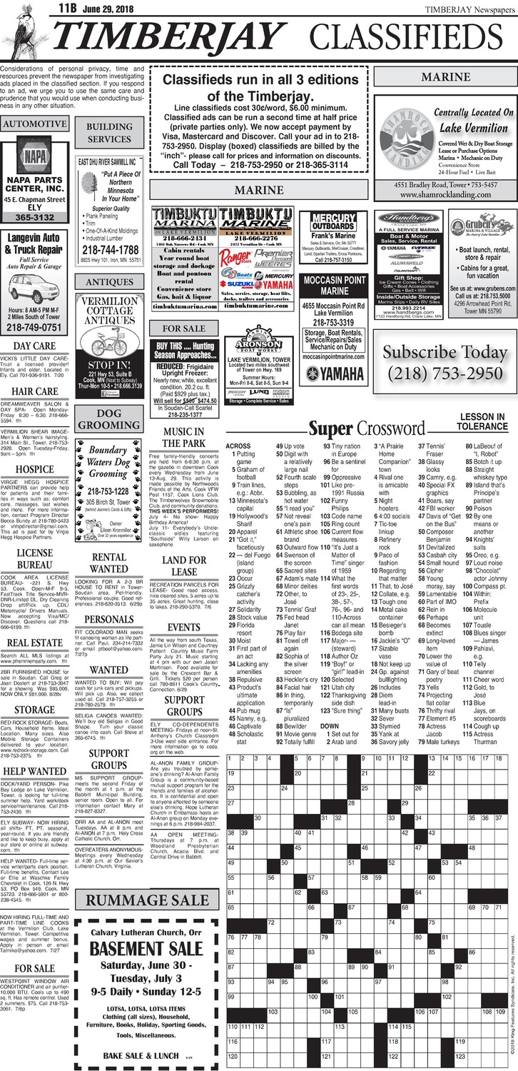 Click here for the legal notices and classifieds from page 11B