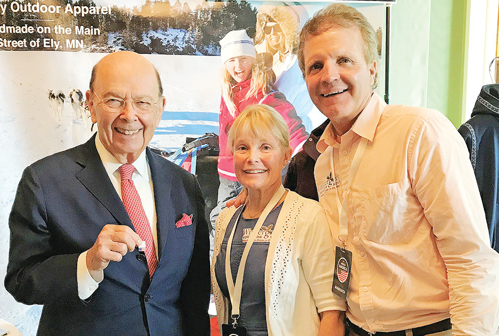 "Sue and Paul Schurke joined U.S. Secretary of Commerce Wilbur Ross at the White House on Monday for the ""Made in America"" showcase that highlighted items  made in this country. submitted photo"