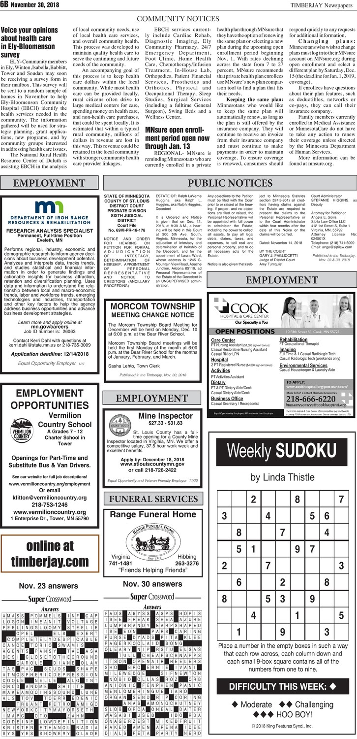 Click here for the legal notices and classifieds from page B6