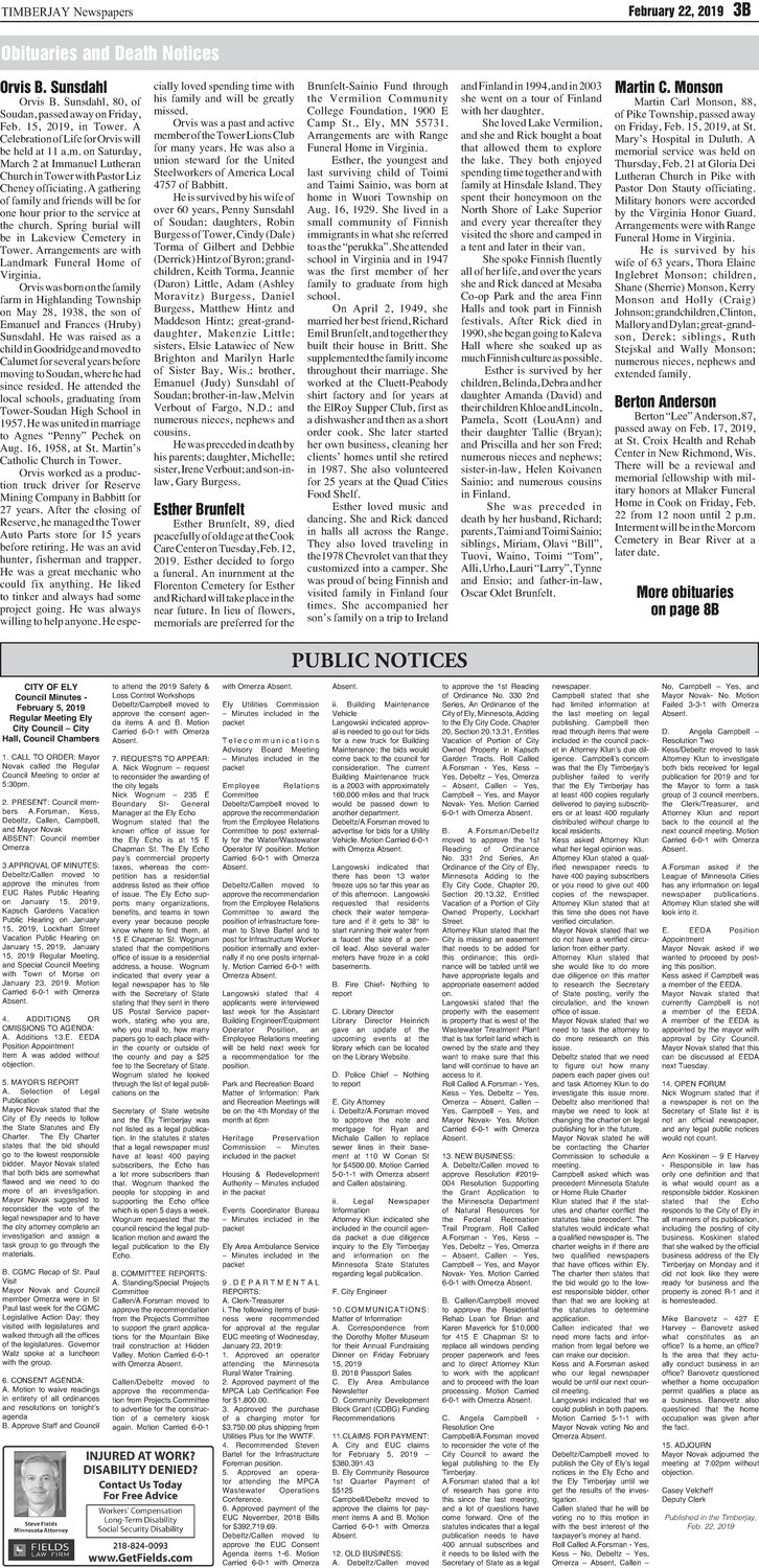 Click here for the legal notices and classifieds from page 3B