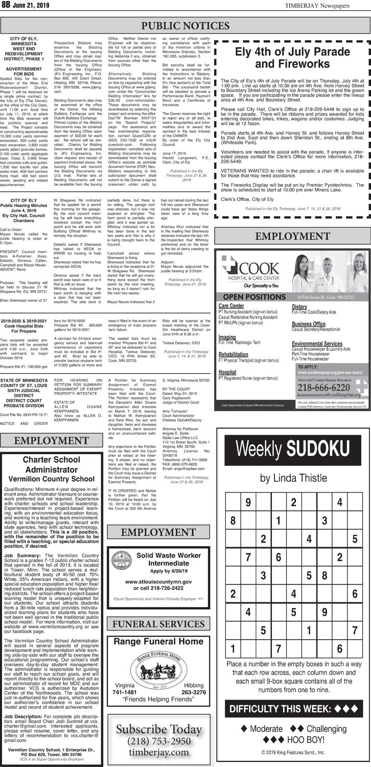 Click here for the legal notices and classifieds from page B8