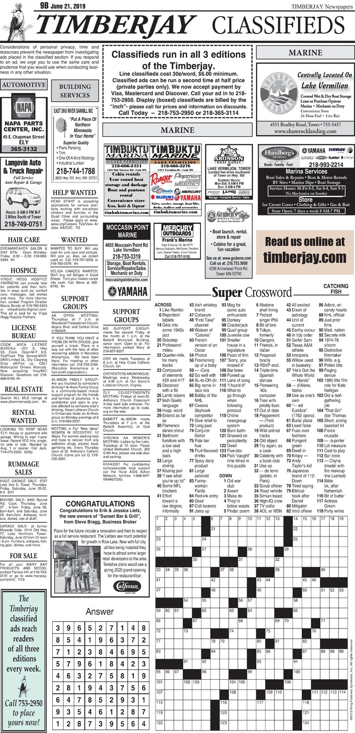 Click here for the legal notices and classifieds from page B9