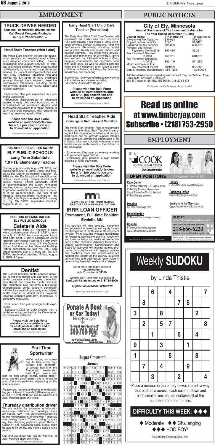 Click here for the legal notices and classifieds on page 6B