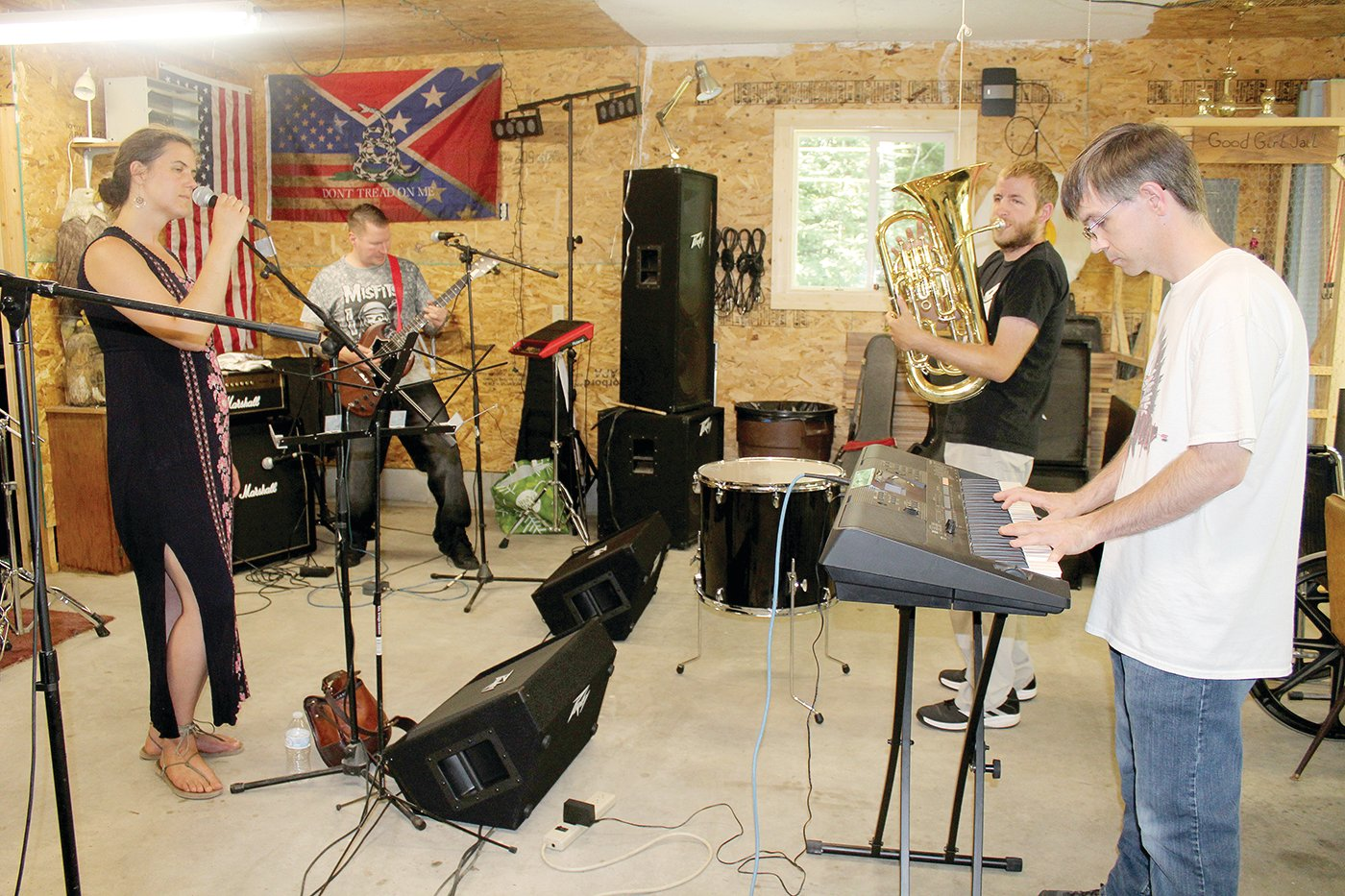 Becky Frichek, Chaz Wagner, Alex Mahne and Tony Parson rehearse for Wild Waters Music Fest. The festival takes place in Duluth on Aug. 16.