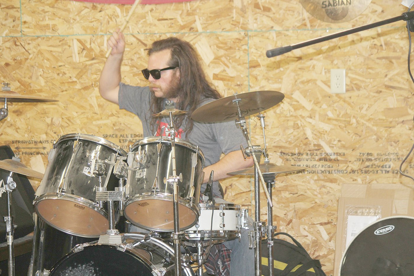 Drummer Tom Frichek keeps the beat for the War Bonnet ensemble during a rehearsal Sunday in Cook.