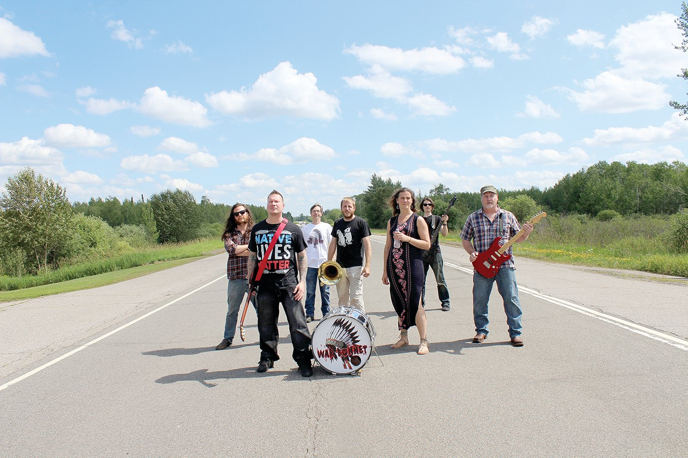 War Bonnet and their performance ensemble will be performing at Wild Waters Music Fest to Save the Boundary Waters on Friday, Aug. 16 at Bayfront Festival Park in Duluth. Left to right are: Tom Frichek, Chaz Wagner, Tony Parson, Alex Mahne, Becky Frichek, Sean Zarn and Eric Krenz.