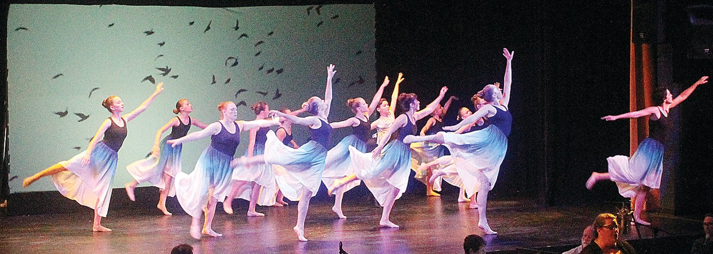 Dance, art and poetry, shown here, along with music, photography and video, focused on the theme of looking skyward as part of a multi-media presentation by Reflections Dance Company last weekend in Ely.