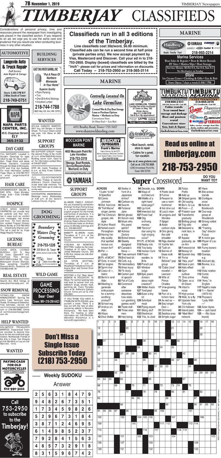 Click here for the legal notices and classifieds on page B7