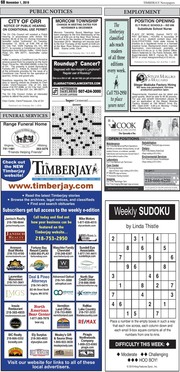 Click here for the legal notices and classifieds on page B6