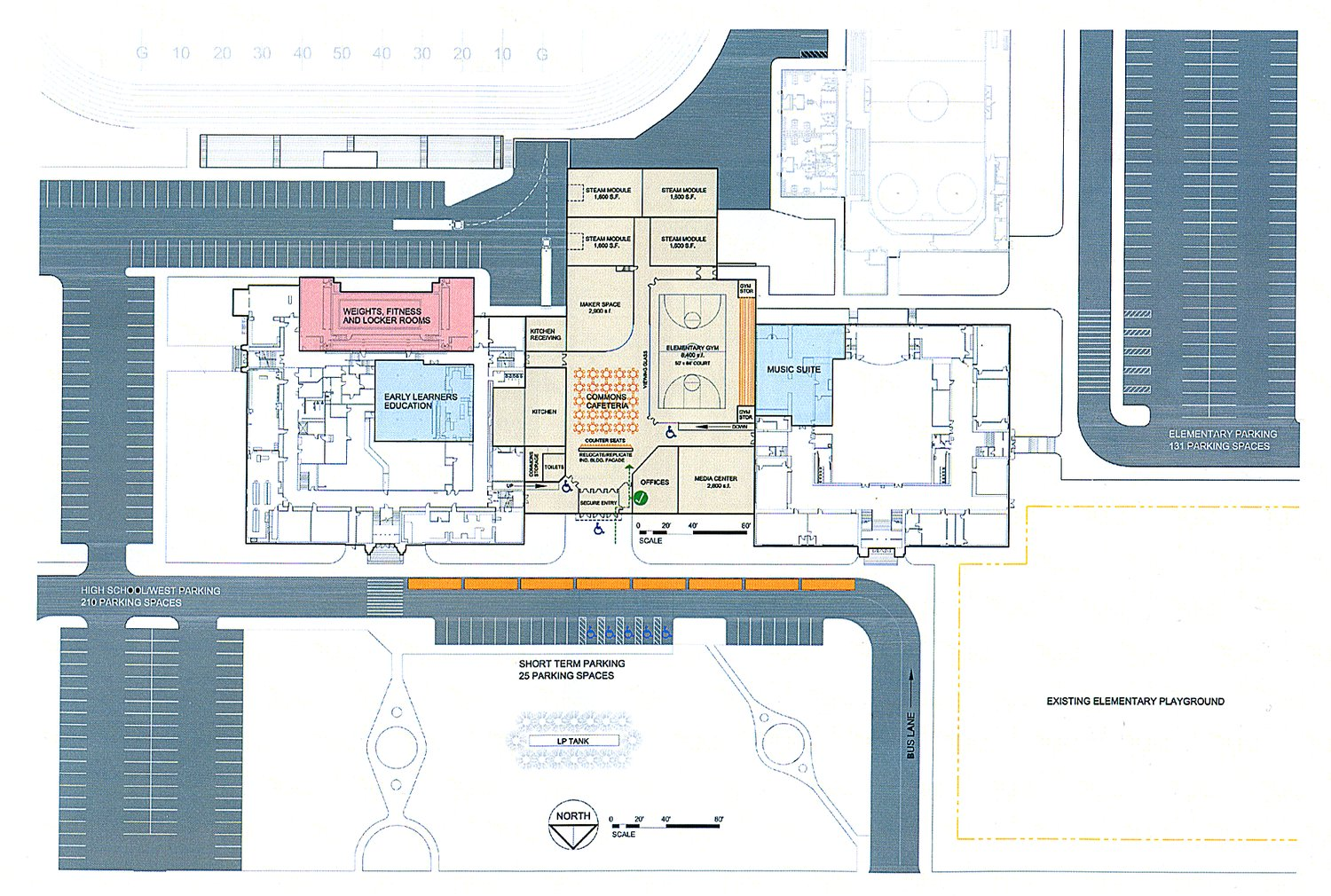 A revised site plan for the Ely school campus shows the full-size gymnasium in the addition between the Washington and Memorial buildings, and the expanded parking lots and student drop-off areas. submitted by Architectural Resources, Inc.