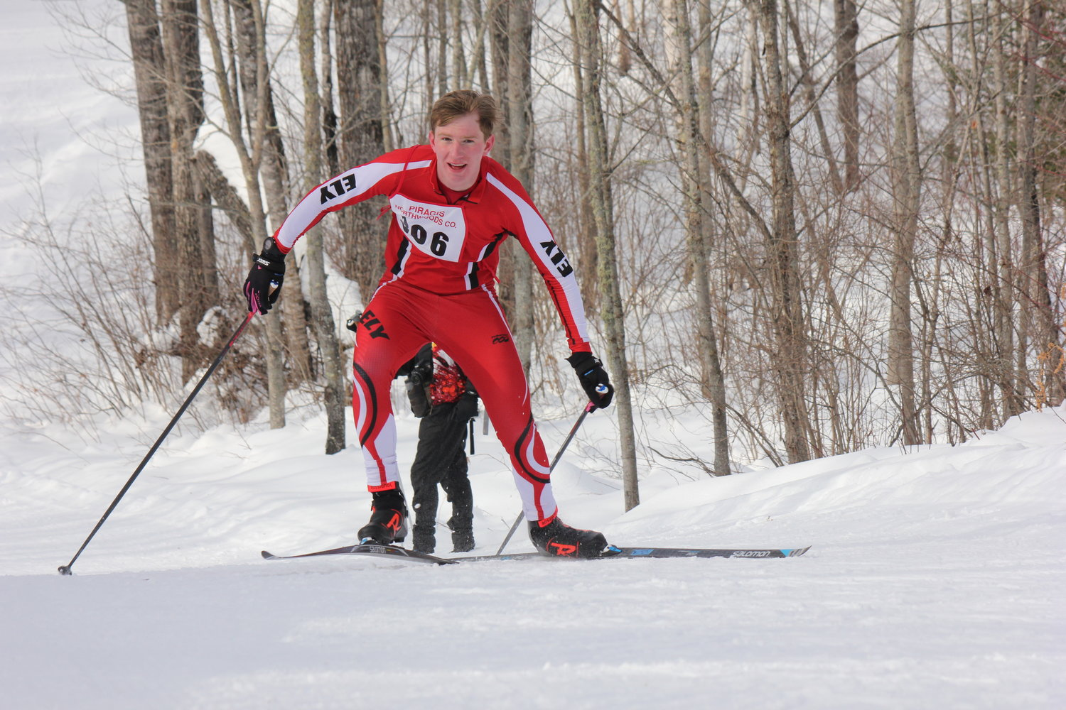 Jasper Johnston races in the Section 7 Nordic ski meet
