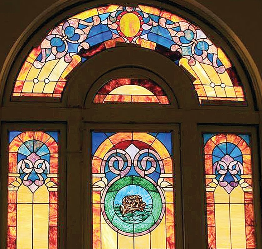 The stained glass windows, as well as the building, were restored by Friends of B'nai Abraham.