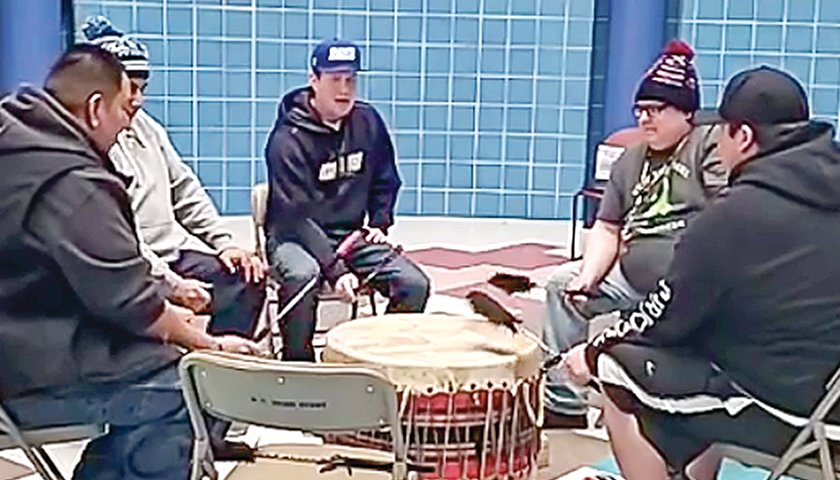 A drum circle of five Bois Forte Ojibwe men shared songs of healing and protection on social media this week.