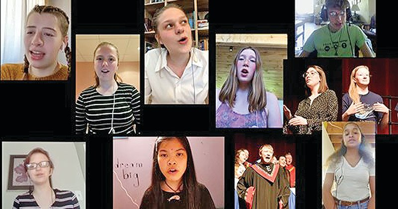 Ely Memorial High School choir students held a virtual concert on social media at the end of the school year. Shown clockwise, from upper left, Hanna Littler, Amelia Pluth, Grace Erickson, Cora Olson, Gabe Mann, Adrianna Bishop, Desiray Lawrence, Sophia Kurnava, Matthew Janeksela, Margaret Renner, Caitlin Priebe.