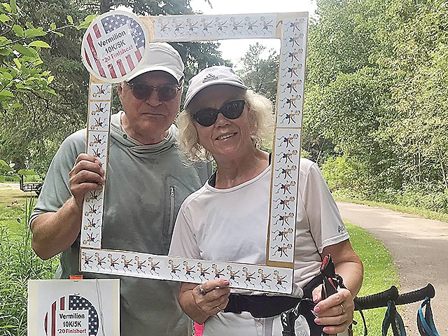 Michael and Marjory Wood, of Biwabik, pose for a photo after walking the 10K route of the Vermilion Run in Tower-Soudan.