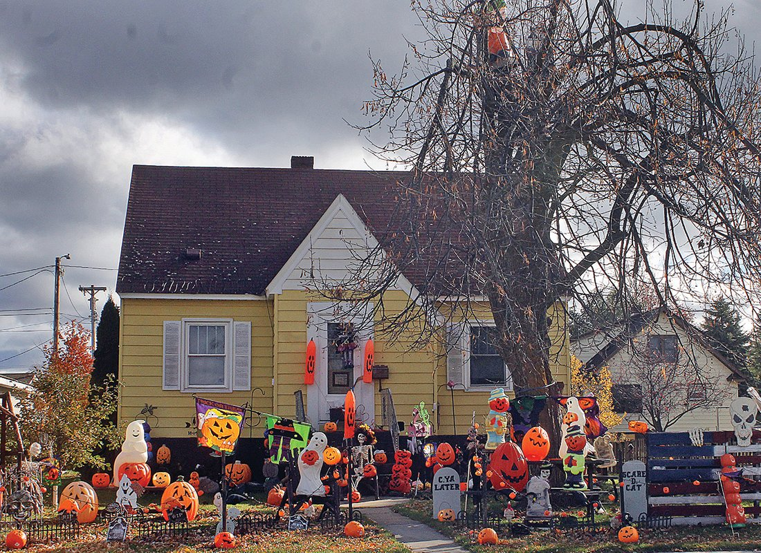 A house near Whiteside Park in Ely, above, is decorated for Halloween every year.