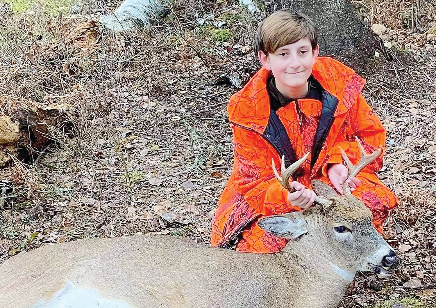 Twelve-year-old Jamison Cornelius bagged this nice six-pointer while hunting near Cook on opening morning.