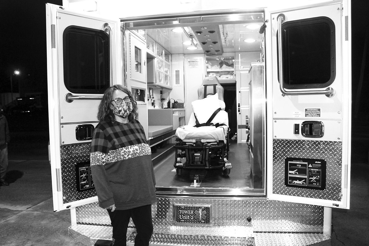 Ambulance director Dena Suihkonen pictured with Tower's newest ambulance.