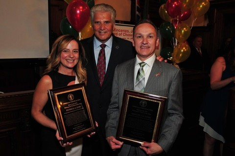 Essex County Executive Joseph N. DiVincenzo, Jr. (center) hosted the 2017 Essex County Portuguese Heritage Celebration on Wednesday, June 14th. During the program, DiVincenzo presented Star of Essex Awards to (from left) Patricia A. Gois, Principal of Rafael Hernandez School in Newark, and Manuel Da Silva, Vice President of Construction Operations at the New Jersey Schools Development Authority. The honorees were recognized for their many positive contributions to New Jersey - especially in Essex County. (Photo by Glen Frieson)