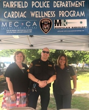 From left to right:  Michele Weintraub of Montclair Radiology, Fairfield Police Captain Chris Morgan and Tara Ceragno, Medical Assistant for Mecca Integrated Medical Dr. Dena Lacara.