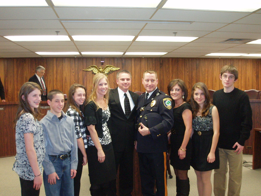 New West Caldwell Chief of Police Michael Bramhall with his family at last night's official promotion and celebration of his new role in West Caldwell.