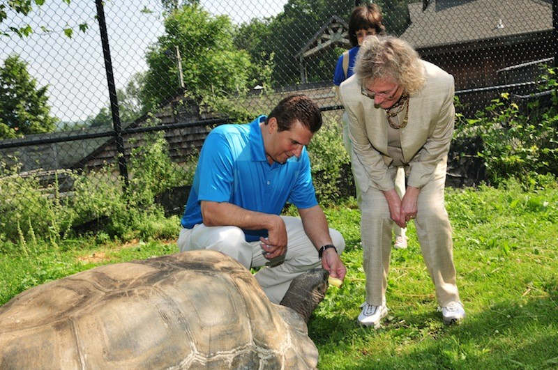 Giant tortoises welcomed at turtle back zoo montclair essex county executive joseph n divincenzo jr and freeholder patricia sebold feed one publicscrutiny Choice Image