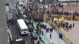 This is when they started to erect a barricade yesterday at Zuccotti Park in NYC.