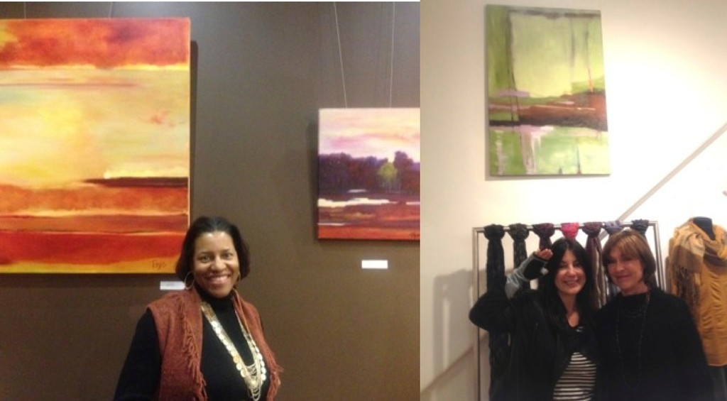 At left, Lynne Toye showed her wonderful oil paintings at Elements Therapeutic Massage; at right, artist Donna Grande offered her works inside the lush store selling OSKA goods, which included these very cool leather patch gloves designed for digital life.