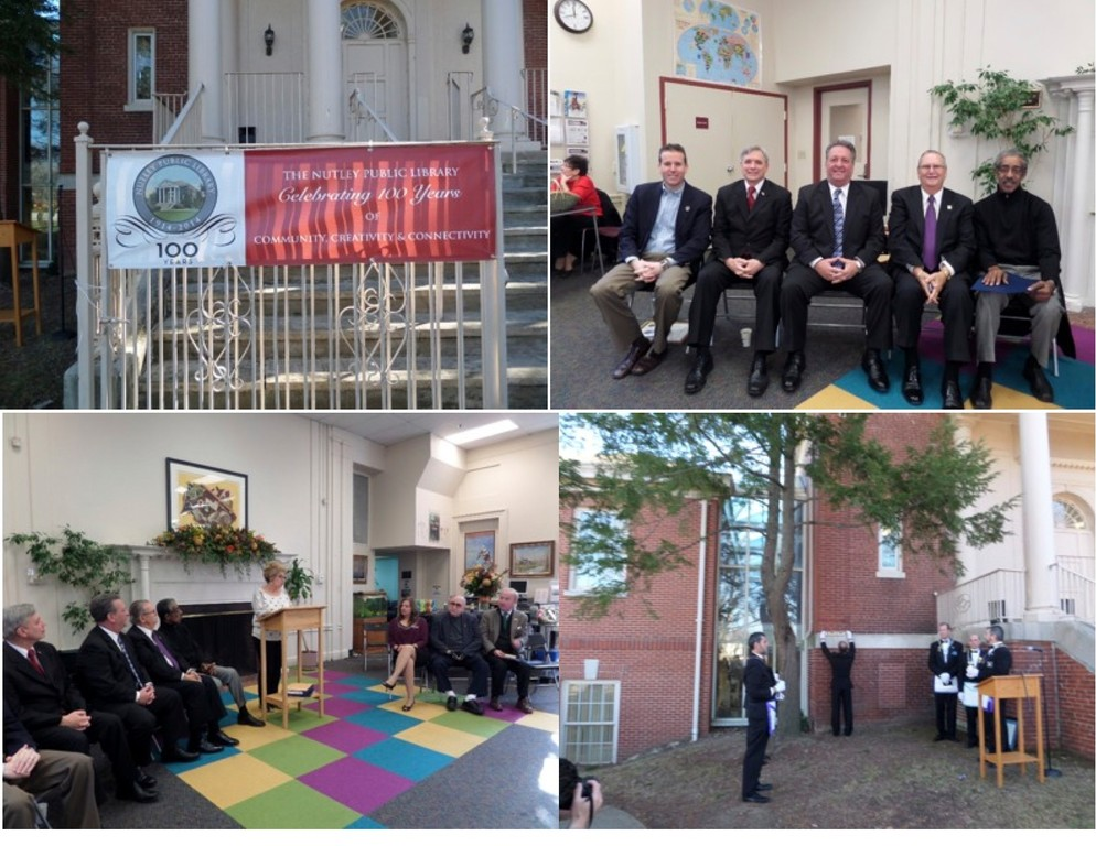 Upper left: the sign announcing the event on November 23, in front of the original entrance to the Nutley Public Library. At right, top: from left to right are: