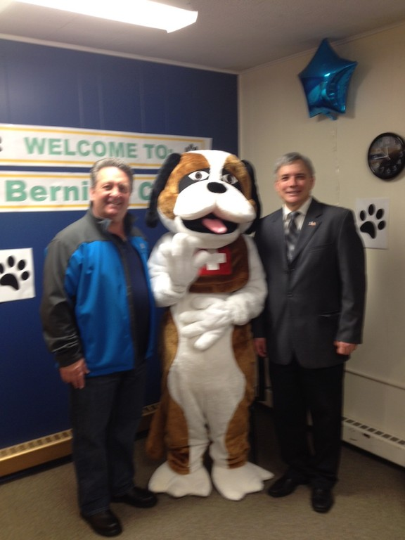 Nutley is the home of Bernie, and this weekend, help him celebrate his 3rd birthday! From left to right: Nutley commissioner Mauro Tucci, Bernie, and Nutley Commissioner Steve Rogers, who launched this beloved series.