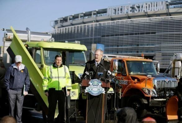 A press conference on December 18, 2013 at Met Life stadium where officials shared their plans for snow removal - and salting - of the stadium in case of snow before the Super Bowl. At the press conference, New Jersey Department of Transportation Deputy Commissioner Joseph Mrozek proudly said they had 820 vehicles and around 60,000 tons of salt and also a quarter of a million gallons of brine and 850,000 gallons of liquid calcium in storage, a mix that treats salt when the temperatures go below freezing.