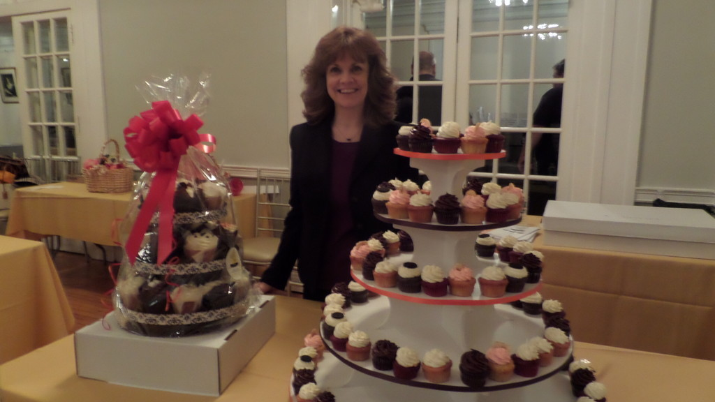 There is always room for cupcakes, especially if they are stuffed cupcake delights from Jaret's Stuffed Cupcakes in Nutley. Here, the talented and lovely co-owner Maureen with some of her delicious mini-cupcakes.