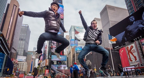Joshua Dela Cruz '11 and Rob McClure on Broadway in New York City