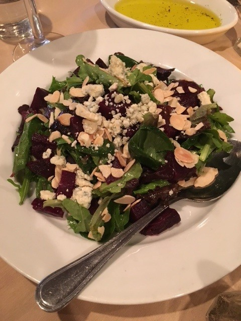 This salad special was so good it is hard to remember every fresh item in it! It was addictive, and the cheese and fresh beets were a perfect pairing.