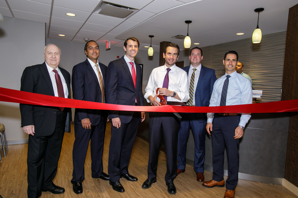 At the ribbon cutting for the new Montclair Radiology Jersey City location, staff and doctors joined Jersey City Mayor Steve Fulop. From left to right in this photo are: Montclair Radiology CEO William diTosto; Montclair Radiology Dr. Anuj J. Tolia, Montclair Radiology Dr. Ross Mondshine, Jersey City Mayor Steve Fulop, Montclair Radiology CFO Frank Reheis and Montclair Radiology Dr. Michael Pollack.